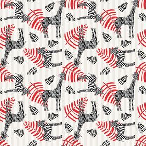 Baby Nursery Pattern Black and White w red palms NJP/BW D102