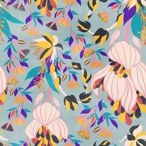 Tropical Bloom / big florals/ blue background / 1704