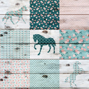 Horse Patchwork Wholecloth Quilt