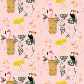 Tiki Birds Blush Pink