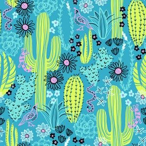 Sonoran Landscape (Lime and Teal)