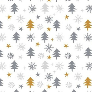 Christmas forest. Small scale. White background