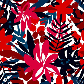 Red Tropical Floral - Large