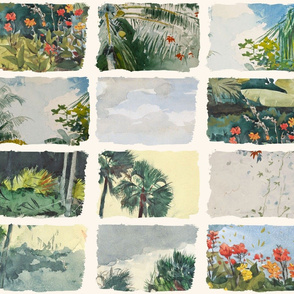 Winslow Homer watercolor tropical landscape paintings wholecloth