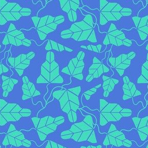 Blockprint Vines Small - blue and green