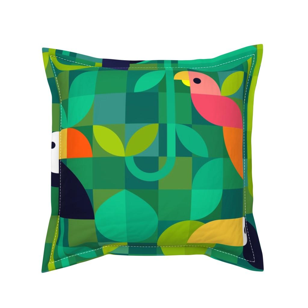 Serama Throw Pillow featuring Tropical Bauhaus - large scale by movezerb