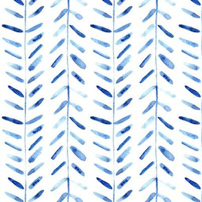 Denim blue watercolor abstract geometrical pattern for modern home decor bedding nursery painted brush strokes herringbone p323