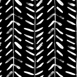 White painted arrows on black - watercolor abstract geometrical pattern for modern home decor bedding nursery painted brush strokes herringbone