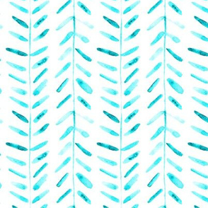 Aqua watercolor abstract geometrical pattern for modern home decor bedding nursery painted brush strokes herringbone 323