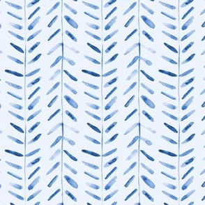 Indigo watercolor abstract geometrical pattern for modern home decor bedding nursery painted brush strokes herringbone 323