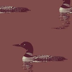 Loon silhouette - maroon and grey on greyed red