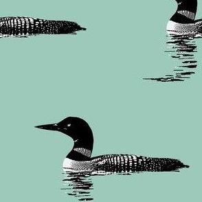 Loon silhouette - black and white on mint