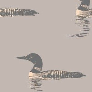 Loon silhouette - grey and peach on warm grey