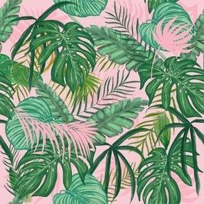 Pink Tropical Leaves