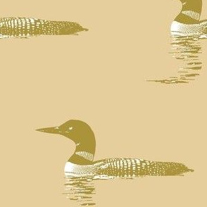 Loon silhouette - tan and white on cream