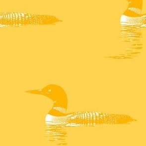 Loon silhouette - gold and white on yellow