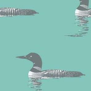 Loon silhouette - grey and white on teal