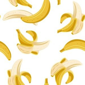 Small scale // Flying bananas // white background yellow fruit