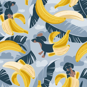 Normal scale // Surrealistic tropical Dachshund bananas // pastel blue background navy blue dogs and banana fruit leaves
