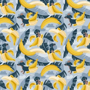 Tiny scale // Surrealistic tropical Dachshund bananas // pastel blue background navy blue dogs and banana fruit leaves