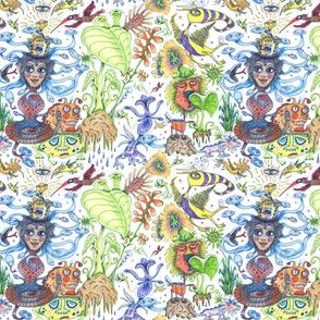 tropical surreal fantasy jungle wallpaper, small scale, rainbow colorful white red orange yellow green blue indigo violet