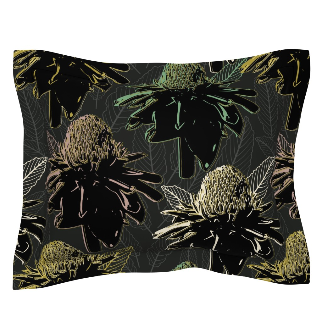 Sebright Pillow Sham featuring Glam Torch Ginger-Large by twigged
