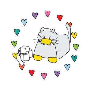 JUMBO Corona Cat Rainbow Heart Circle