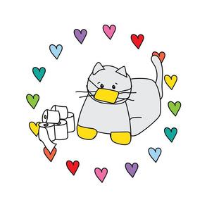 MEDIUM Corona Cat Rainbow Heart Circle