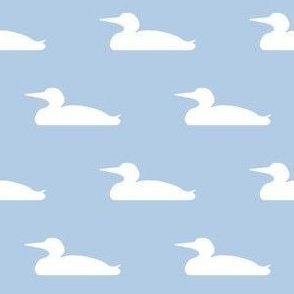 Small abstract loon silhouette - white on light blue