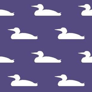 Small abstract loon silhouette - white on purple