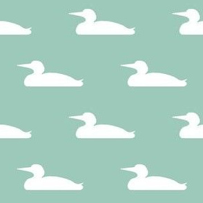Small abstract loon silhouette - white on mint