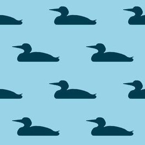 Small abstract loon silhouette - navy on light blue
