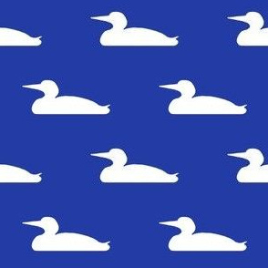 Small abstract loon silhouette - white on morning blue