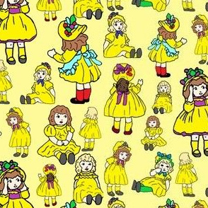 Raggedy Stories Dollies Fabric Design