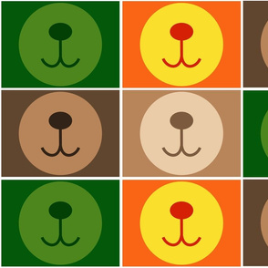 bear face masks brown + green + orange