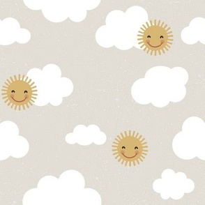 Partly Sunny Skies on greige