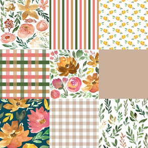 harvest florals cheater quilt - bold