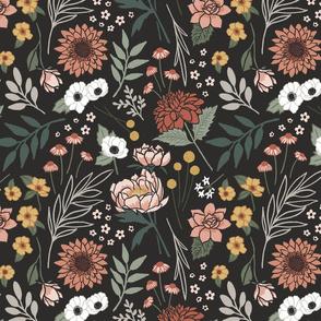 Boho Floral on Black