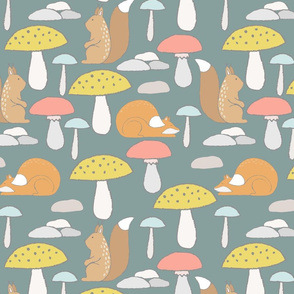 Mushroom and forest animals