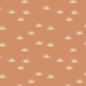 Little sunshine morning minimal trend abstract kids nursery design seventies  beige sand retro orange SMALL