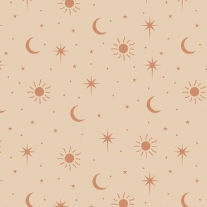 Mystic magic Universe sun moon phase and stars sweet dreams night baby nursery retro seventies orange beige sand