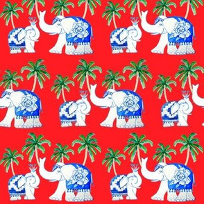 Blue and white elephants, Chinoiserie elephants red with palms