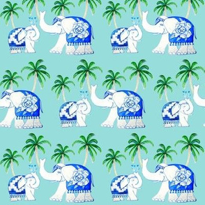 elephants blue with palms , Chinoiserie porcelain elephants