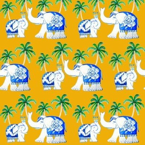 Blue and white elephant Chinoiserie yellow with palms