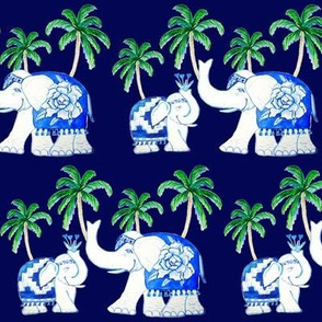 elephants classic blue with palm trees