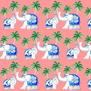 elephants  coral with palms, Chinoiserie elephants in blue and white
