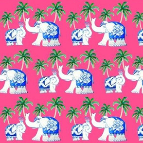 elephants Fuchsia, Chinoiserie blue and white elephants with jungle palms