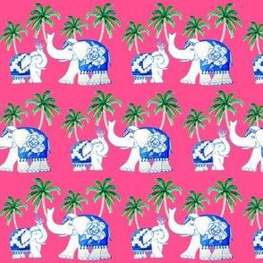 elephants cerise, Chinoiserie blue and white elephants with jungle palms