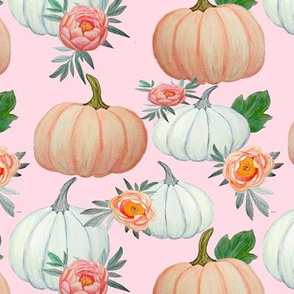 Pumpkin and Peony, pink, peach and white