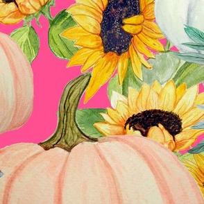 pumpkins and sunflower floral on cerise pink